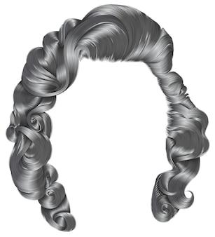 Modna kobieta włosy szare kolory. moda uroda. loki w stylu retro. realistyczny 3d.
