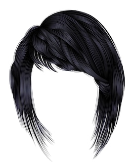 Modna kobieta włosy z grzywką na białym tle
