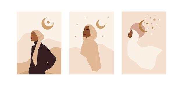 Modna kolekcja abstrakcyjna z nowoczesnymi muzułmańskimi plakatami do dekoracji. kobieta uroda hidżab. ilustracja wektorowa na białym tle.