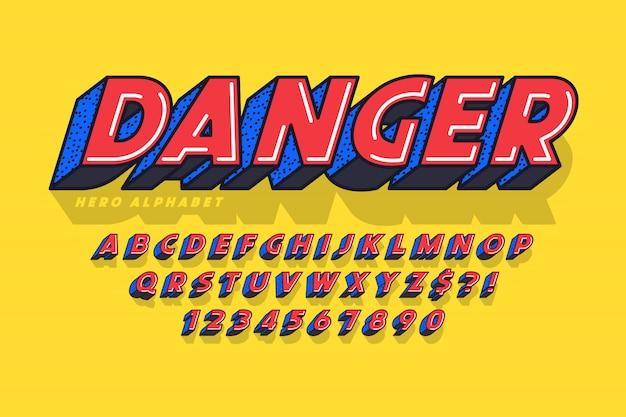 Modna komiczna czcionka, kolorowy alfabet, krój pisma.