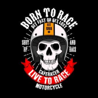 Modna koszulka sloganowa racer. urodzony, aby ścigać się szybko lub zgubić się, zamknąć się i ścigać, cafe racer życie, aby ścigać się motocyklem.