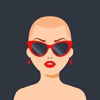 Modna łysa dziewczyna z okularami i czerwonymi ustami. zwycięstwo nad rakiem. ilustracja płaski charakter.
