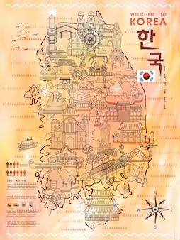 Modna mapa turystyczna korei południowej z licznymi atrakcjami - korea w koreańskich słowach w prawym górnym rogu