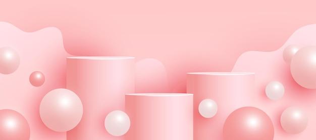 Modna pusta scena z podium lub platformą, geometryczne kształty latających bąbelków minimalna scena z geometrycznymi formami do prezentacji produktów.