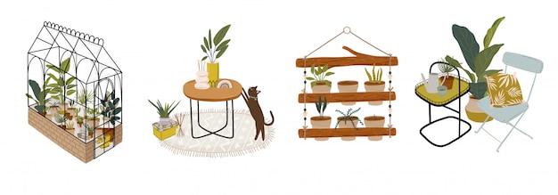 Modna skandynawska zieleń miejska w domu jungle interior z dekoracjami do domu. przytulny domowy ogród urządzony w stylu hygge. ilustracja crazy plant lady.