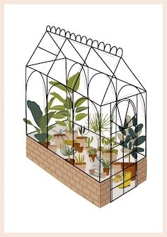 Modna skandynawska zieleń miejska w domu jungle interior z dekoracjami do domu. przytulny domowy ogród urządzony w stylu hygge.