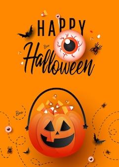 Modna sztuka plakat szablon happy halloween z dynią cukierek albo psikus