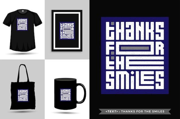 Modna typografia cytat motywacja koszulka dzięki za uśmiechy. pionowy szablon typograficzny napisów