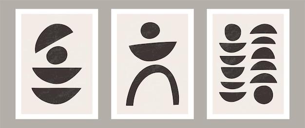 Modna współczesna abstrakcyjna grafika na ścianę zestaw 3 nadruków w stylu boho minimalne czarne kształty na beżu