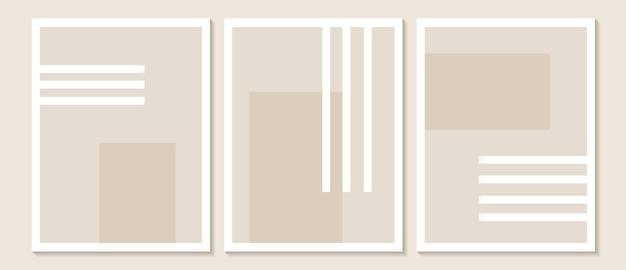Modna współczesna abstrakcyjna grafika na ścianę zestaw 3 wydruków w stylu boho