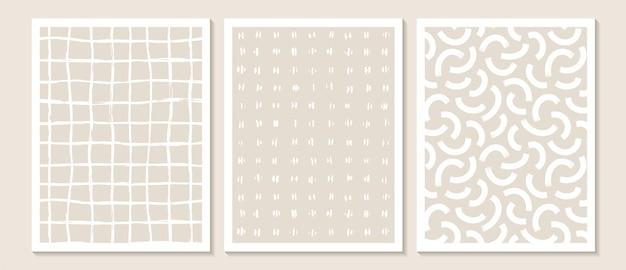 Modna współczesna abstrakcyjna grafika ścienna, zestaw 3 nadruków w stylu boho, minimalistyczne białe kształty na beżu