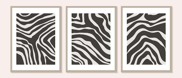 Modna współczesna abstrakcyjna grafika ścienna, zestaw 3 nadruków w stylu boho, minimalistyczne czarne kształty na beżu