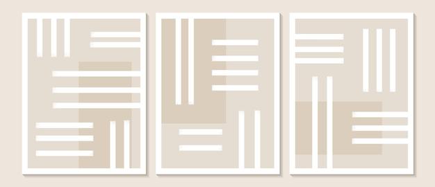 Modna współczesna abstrakcyjna sztuka ścienna zestaw 3 nadruków w stylu boho minimalne białe kształty na beżu