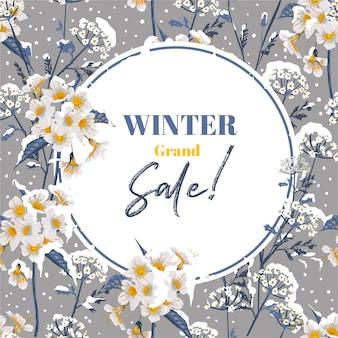 Modna zima kwitnąca kwiatowo w sezonie zimowym ze śniegiem, projekt banera