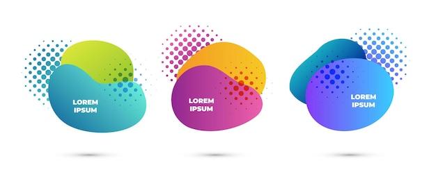 Modne abstrakcyjne kształty ustawiają płynne kolorowe banery z elementami półtonów