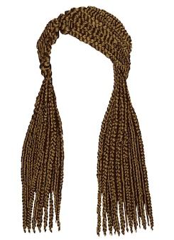 Modne afrykańskie długie warkocze. realistyczna grafika. styl uroda moda.