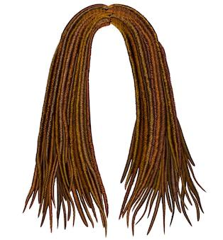 Modne afrykańskie dredy z długimi włosami. realistyczne. styl uroda moda.