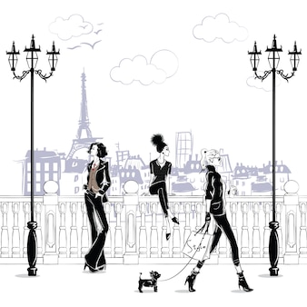 Modne dziewczyny w stylu szkicu w paryżu. portret kobiety moda.