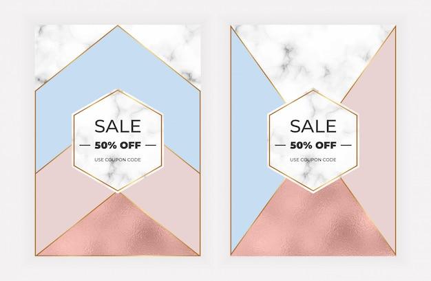 Modne geometryczne karty z różową złotą folią i marmurową teksturą