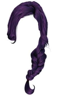 Modne kobiety mają fioletowe włosy. warkocz.