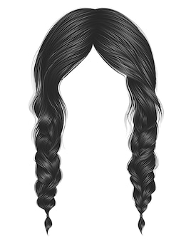 Modne kobiety mają szary kolor włosów. dwa warkocze.