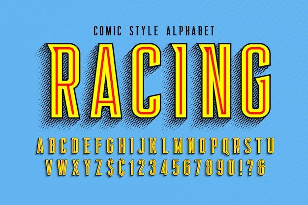 Modne komiczne litery, kolorowy alfabet