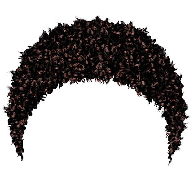 Modne kręcone afrykańskie krótkie czarne włosy. realistyczny 3d. moda uroda.