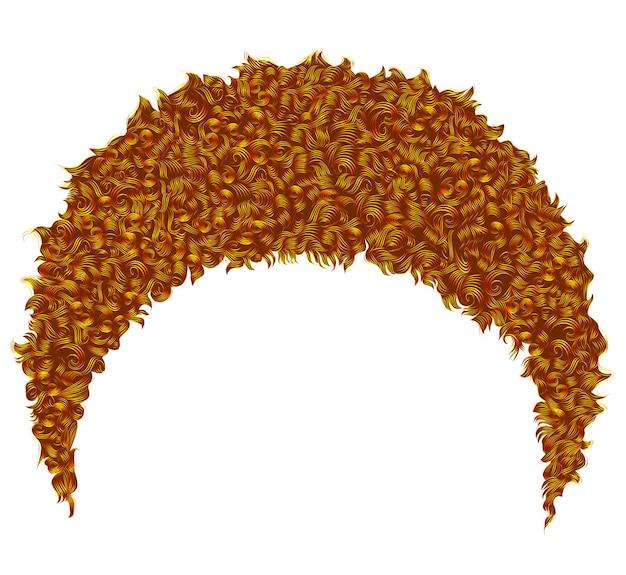 Modne kręcone afrykańskie krótkie rude włosy. realistyczny 3d. unisex afro