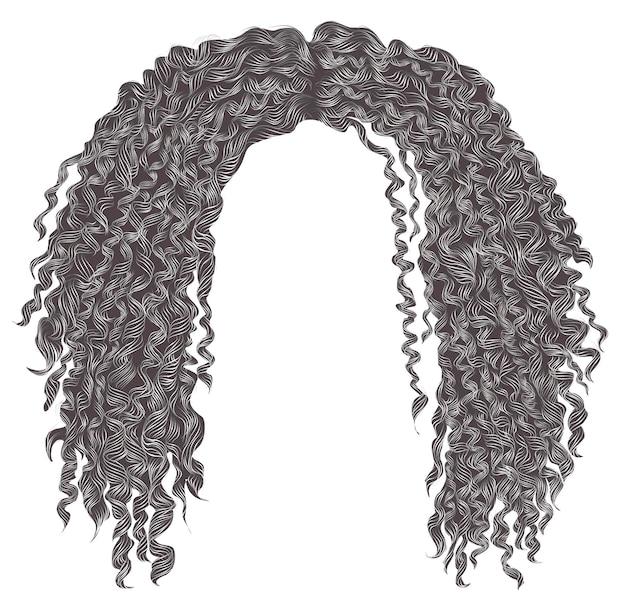 Modne, kręcone, potargane siwe włosy. realistyczny 3d. unisex kobiety men.afro