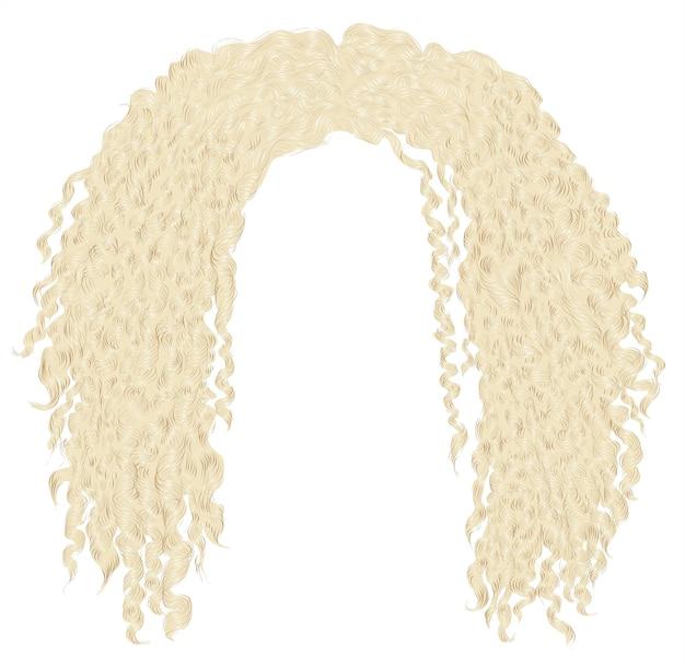 Modne, kręcone, rozczochrane afrykańskie blond włosy. realistyczny 3d. unisex afro