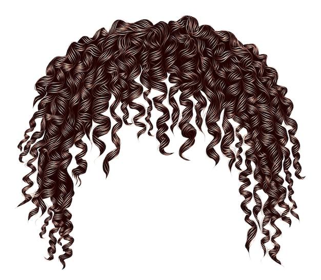 Modne kręcone, rozczochrane afrykańskie brązowe włosy. realistyczny 3d. unisex afro