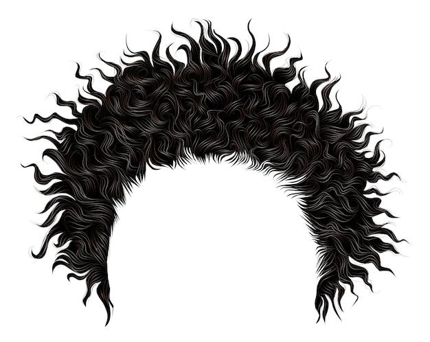 Modne kręcone, rozczochrane afrykańskie czarne włosy. realistyczny 3d. moda uroda styl .unisex kobiety mężczyźni