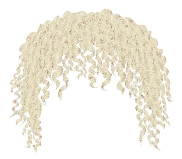 Modne kręcone, rozczochrane blond włosy. realistyczny 3d. unisex afro