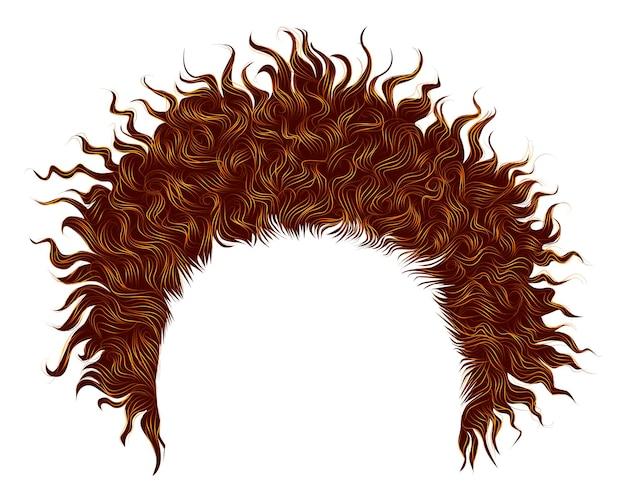 Modne, kręcone, rozczochrane rude włosy. realistyczny 3d. fryzura unisex.