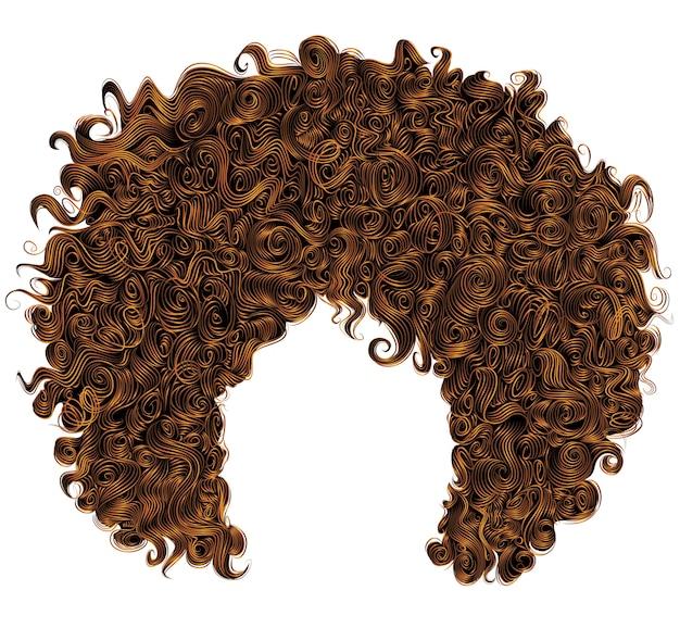 Modne kręcone rude włosy. kulista fryzura