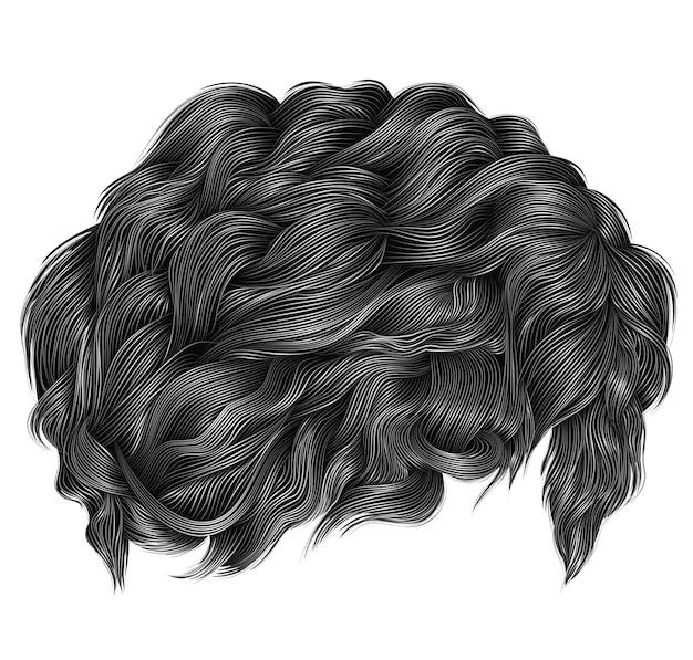 Modne kręcone włosy w szarym kolorze. średnia długość. realistyczny 3d.