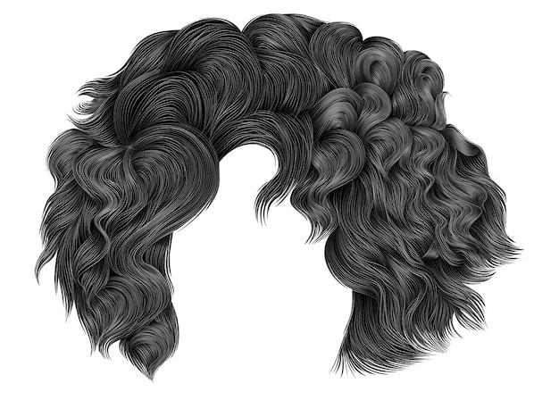 Modne krótkie włosy w ciemnoszarych kolorach. fringe.realistic 3d.