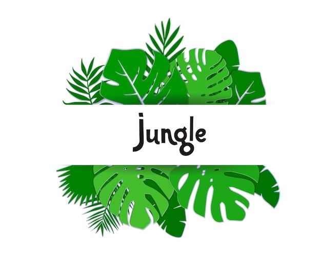 Modne letnie tropikalne liście palmowe. egzotyczny hawajski baner letni z napisem dżungla