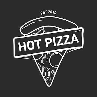 Modne logo z kawałkiem pizzy i wstążką, taśmą lub paskiem narysowane ręcznie liniami konturowymi na czarno