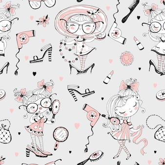 Modne małe słodkie dziewczyny, które chcą wyglądać jak dorośli. fashionistki z akcesoriami dla kobiet. wzór.