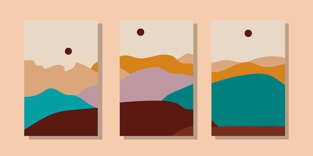 Modne minimalistyczne abstrakcyjne ilustracje krajobrazu. zestaw ręcznie rysowanych współczesnych plakatów artystycznych.