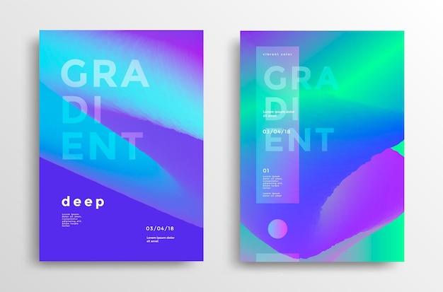 Modne okładki z gradientowymi kształtami nowoczesne jasne tła dla broszury plakatowej ulotki