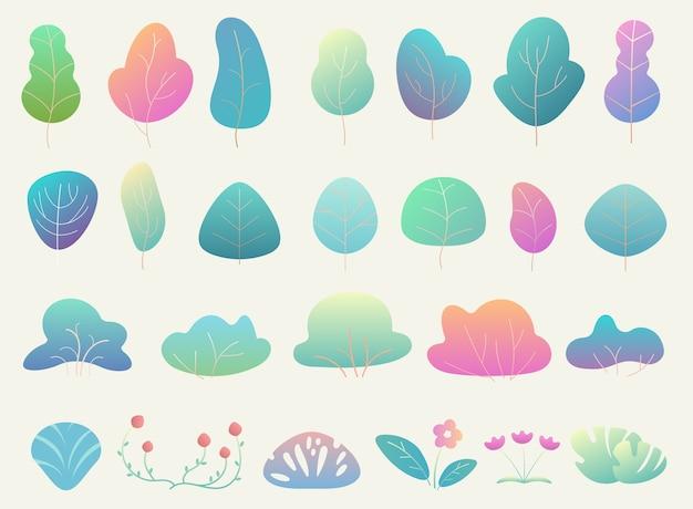 Modne piękne proste elementy leśne w kolorze gradientu