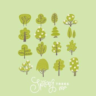 Modne płaskie drzewa i kwiaty zestaw ilustracji. kolekcja kwitnących drzew w stylu skandynawskim.