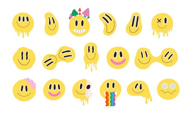 Modne, psychodeliczne, zniekształcone buźki z tęczą. szalony uśmiechający się groovy emoji. trippy kwas topienia graffiti uśmiech naklejki wektor zestaw. żółte postacie o hipnotyzujących oczach, grzyby