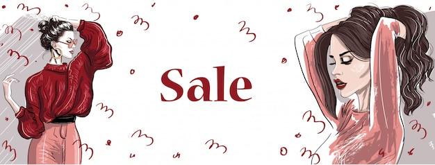 Modne ręcznie rysowane kobiety w sprzedaży transparent
