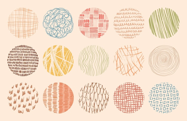 Modne tekstury kół kolorów wykonane tuszem, ołówkiem, pędzlem. zestaw wzorów wyciągnąć rękę. geometryczne kształty bazgroły plam, kropek, kresek, pasków, linii.