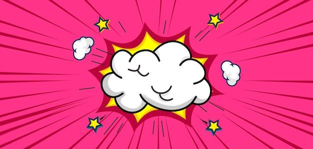 Modne tło komiksowe z chmurą i gwiazdą