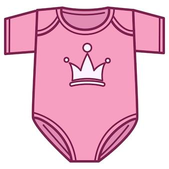Modne ubrania dla noworodka, na białym tle body ze znakiem korony. odzież dla niemowląt, pastelowy kolor kombinezonu dla małej księżniczki. odzież dziecięca wykonana z tkaniny lub wełny, wektor w mieszkaniu