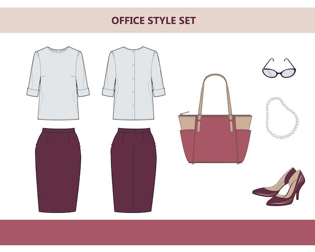Modne ubrania do biura. garnitur damski do biura. płaskie ilustracji wektorowych na białym tle.
